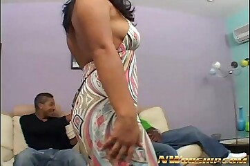 sexy big ass latina sucking and fucking big black dick