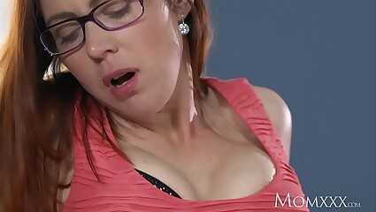 MOM Husband caught wanking is finished off by redhead milf in stockings