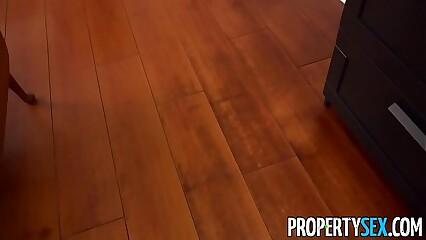 PropertySex - Petite brunette tenant fucks big landlord cock
