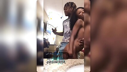 Tiny ebony harmony cage gets deep stroked and nutted on by her sister's boyfriend Handsomedevan