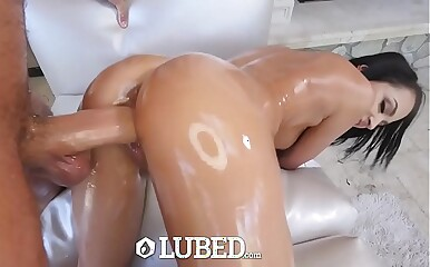 LUBED Lubed up petite Sofi Ryan pussy pounded outdoors