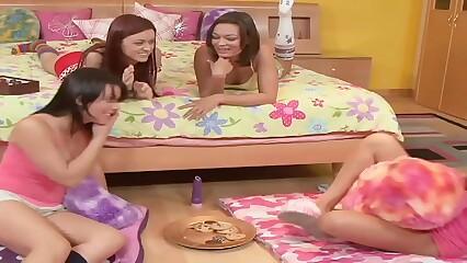 Girls Pyjama Night sleepover starts innocently but turns out Lesbian Orgy