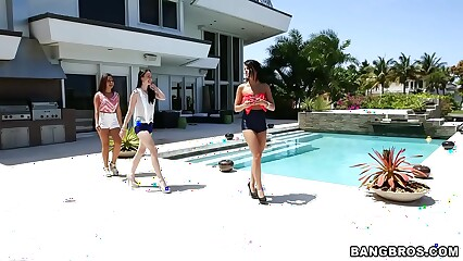 BANGBROS - Adriana Chechik, Janelle James, and Veronica Radke Lesbian Threesome