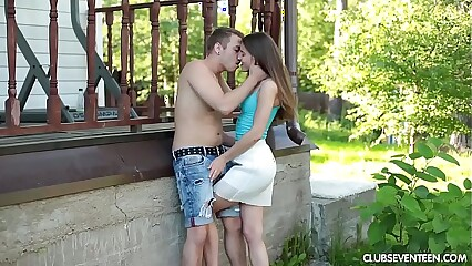 Beauty teen Evelina getting pounded outdoors