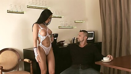 Beautiful brunette with a perfect ass fucked in white lingerie