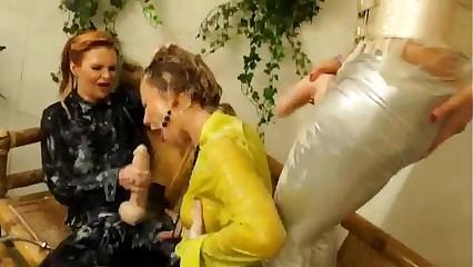 Bukkake fetish eurotrash lesbians get soaked