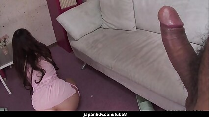 Asian bimbo in a pink dress getting cock blasted