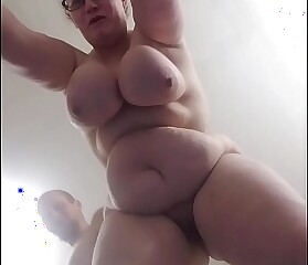 Bbw huge tit wife from behind..view from below