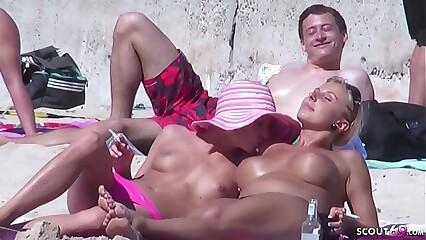 German Lesbian - Echte Lesben am Strand vom Ballerman 6 erwischt und gefilmt