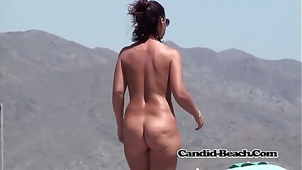 Sexy body brunette wife nudist voyeured with spycam