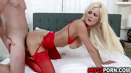 Busty Blonde MILF Olivia Blu rubs her clit playfully while waiting for a meaty dick in her MILF muff. Kyle Mason stuffs his meat into delicious pussy.