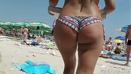 Sexy bikini ass close  ups girls voyeur beach