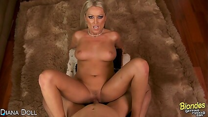 Blonde Diana Doll suck and fuck cock