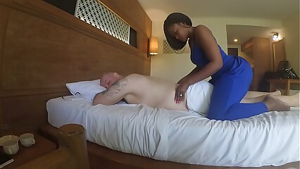Massage in Africa  with blowjob and cum eating