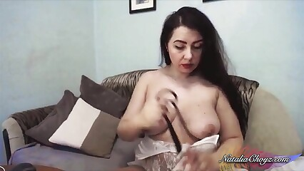 Nauhty Bride Pussy Fucking Dildo with Nipple Clamps and Cum