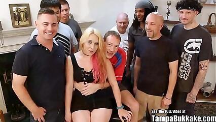 Tampa bukkake interracial blonde gangbang