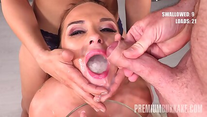 Premium Bukkake - Vinna Reed swallows 68 huge mouthful cum loads