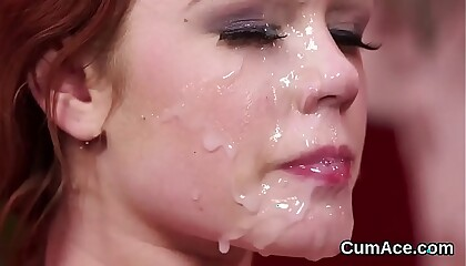 Kinky honey gets cumshot on her face swallowing all the cum