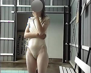 Girl at pool swimsuit shows cameltoe