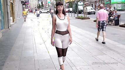 Revealing catsuit. Camel-toe in public