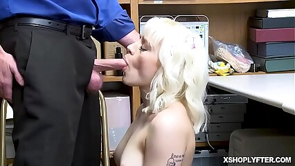 Blonde Teen sucks as she goes down on her knees!