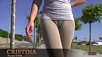 Cristina goes for a walk with her huge cameltoe