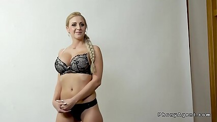 Huge tits blonde fucks cowgirl at casting