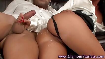 Clothed slut cum covered