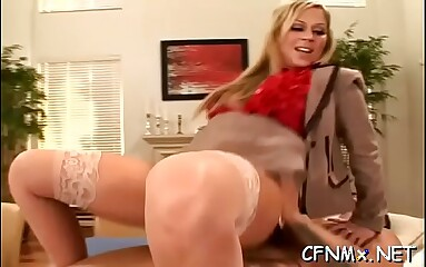 Fully clothed whore rides dong