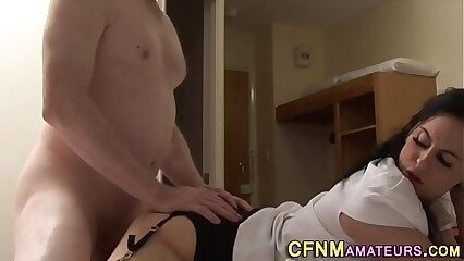 Clothed milf gets nailed