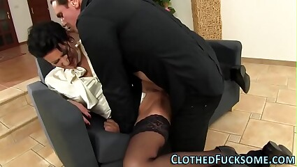Classy slut gets cumshot
