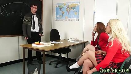 Clothed domias jerk cock