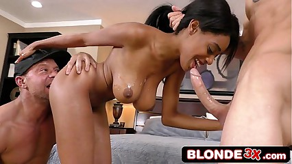 Ebony Teen Brittney White Gets Back at Her Cheating BF with 2 White Plumbers