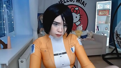 Cute babe Mikasa Ackerman cosplay fucks her pussy and cums