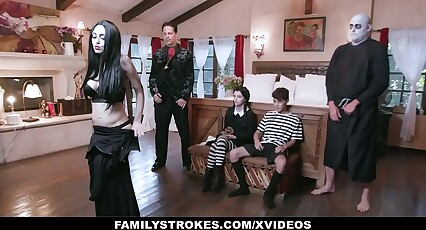 FamilyStrokes - Costumed Teen And Milf Get Fucked Hard And Rough For Halloween