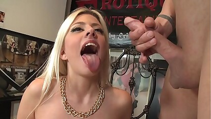 Glamour blonde babe Jessie Volt fucks in various poses