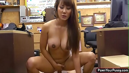 Hot asian babe Tiffany rides huge dick