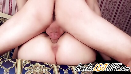 Hot Wife Sensual Blowjob and Hard Doggystyle Fuck - Creampie