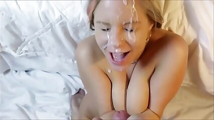 Pretty girl surprised and delighted by huge facial