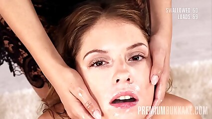 Premium Bukkake - Rebecca Volpetti swallows 69 huge mouthful cumshots