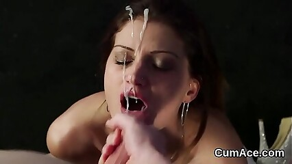 Sexy centerfold gets cumshot on her face gulping all the love juice
