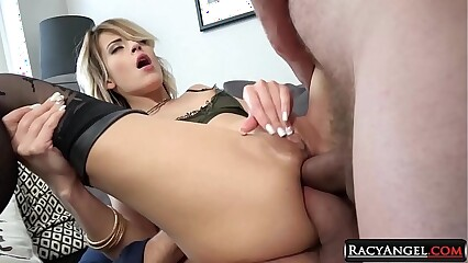 College Czech Blondie Ria Sunn Gets Double Anal Pounding in Threesome with Ian Scott and Neeo A