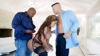 Rammed - Bridgette Double Penetrated By Black And White Cocks