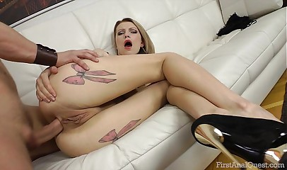 FirstAnalQuest.com - BUTT SEX SCENE STARS A GORGEOUS BLONDE IN RED LIPSTICK