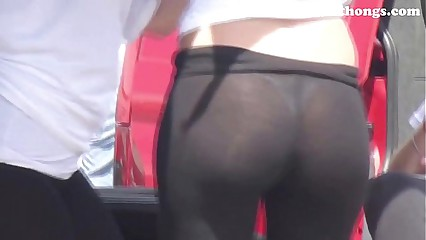 See-through leggings visible thong booty 27