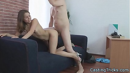 Casting newbie gets banged from behind