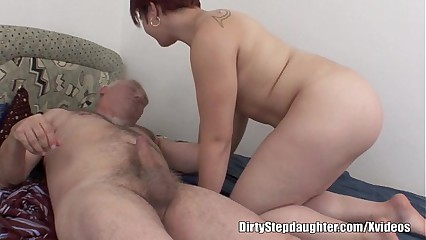 Chubby Redhead Stepdaughter Creeps Over Stepfather's Cock