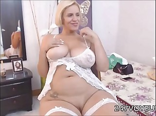Chubby Mature with Big Tits Stripping on Cam