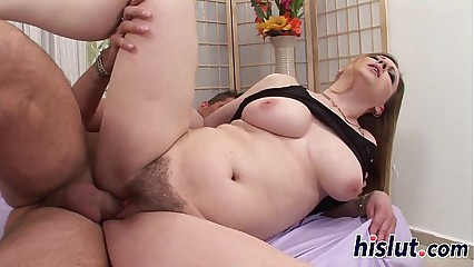 Chubby slut has her hairy cunt slammed