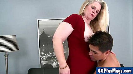 chubby blonde divorcee and her hunk